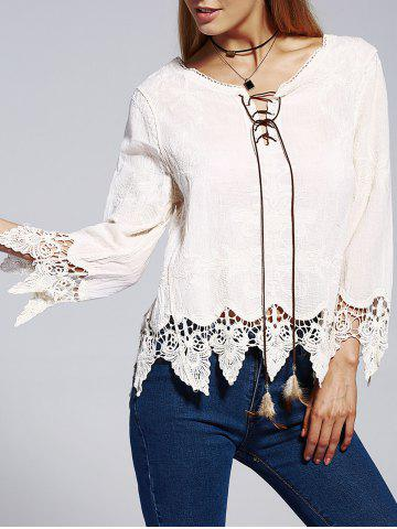 Outfits Bohemian V-Neck Lace Lace-Up Panelled Nine-Minute Sleeves Blouse For Women