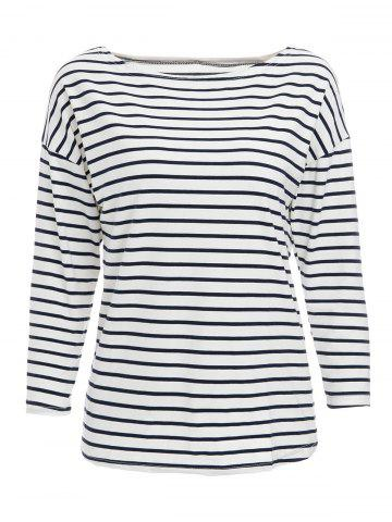 Outfits Simple Stripe Skew Neck 3/4 Sleeve T-Shirt For Women - M WHITE AND BLACK Mobile