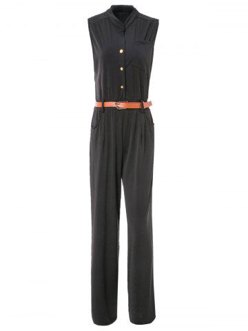 Discount Elegant Stand Collar Candy Color Sleeveless Jumpsuit For Women BLACK XL