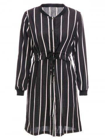 Trendy Brief Stand Collar Vertical Stripe Long Sleeve Dress For Women BLACK 2XL