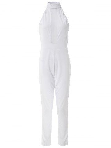 Sale Sexy Round Neck Mesh Spliced Bodycon Women's Jumpsuit WHITE M
