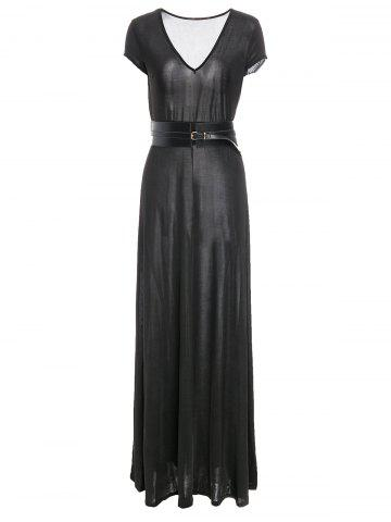 Best Belted Short Sleeve Maxi Prom Dress BLACK L