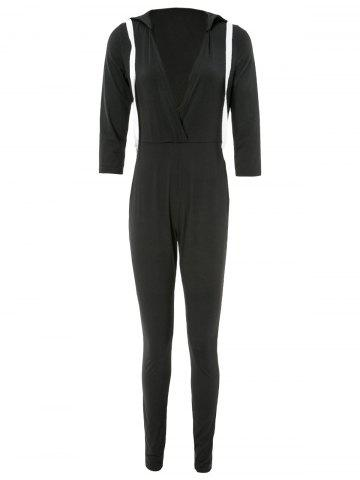 Shop Stylish 3/4 Sleeve Plunging Hooded Women's Jumpsuit