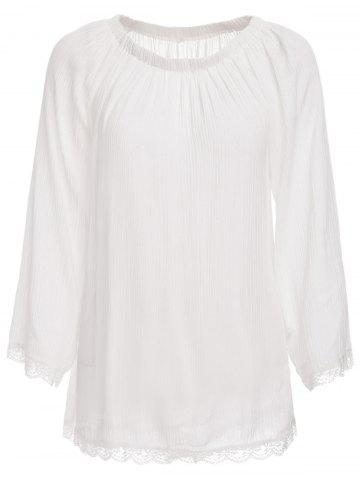 Store Off The Shoulder Long Sleeve Tunic Cover Up - L WHITE Mobile