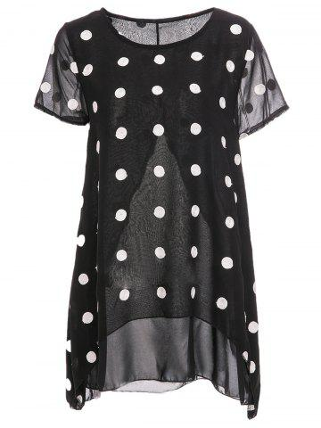 Latest Women's Trendy Scoop Neck Short Sleeve Chiffon Polka Dot Blouse BLACK XL