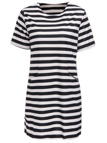 Latest Striped Short Sleeve Casual Dress WHITE/BLACK M