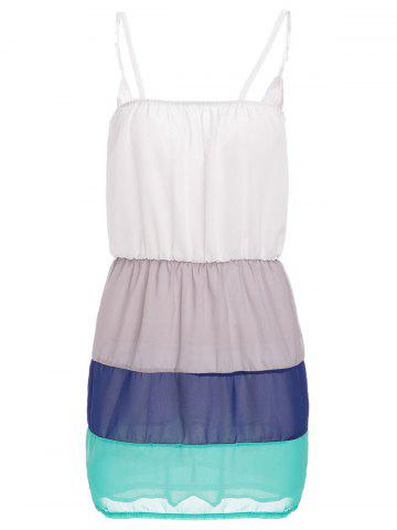 Latest Sweet Spaghetti Strap Color Block Summer Dress For Women - M WHITE Mobile