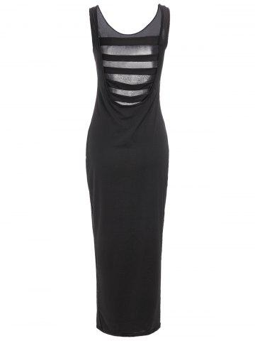 Online Chic U-Neck Black Hollow Out Sleeveless Maxi Dress For Women