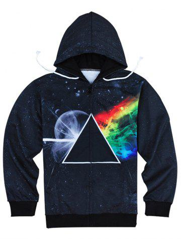 Hot Modish Slimming Hooded 3D Universe Print Long Sleeve Cotton Blend Hoodie For Men BLACK XL