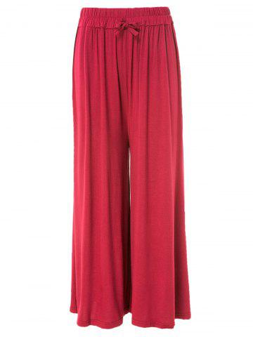 Chic Stylish Waist Drawstring Solid Color Loose-Fitting Women's Pants