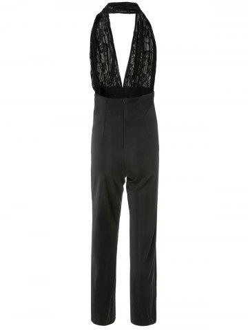 New Plunging Neck Sleeveless Backless Jumpsuit - M BLACK Mobile