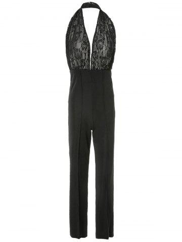 New Plunging Neck Sleeveless Backless Jumpsuit - L BLACK Mobile