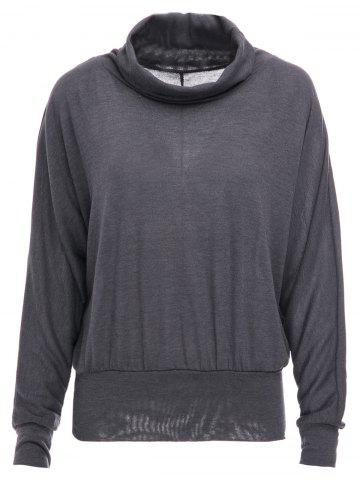 Fancy Stylish Cowl Necked Buttocks Tight Long Blouse DEEP GREY