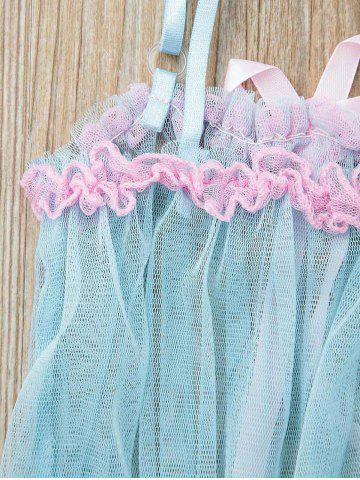 New Charming Layered Ruffles Lace Hem Dress For Women - ONE SIZE WATER BLUE Mobile