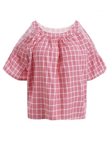 Hot Sweet Cold Shoulder Short Sleeve Plaid Print Blouse For Women