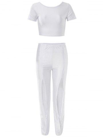 Sexy Scoop Neck Short Sleeve Crop Top + Elastic Waist Hollow Pants Women's Twinset - WHITE S