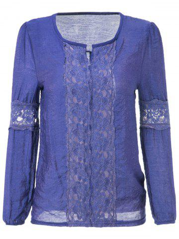 Long Sleeve V-Neck Lace Splicing Solid Color Women's Blouse - Deep Blue - One Size