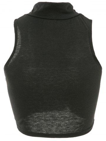Outfit Sleeveless Bodycon High Neck Crop Top - S BLACK Mobile