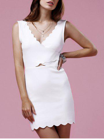 Best Sweet V-Neck Sleeveless Scalloped Hem Bodycon Dress For Women