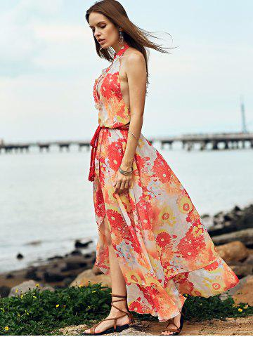 Store Bohemian Halter Backless Flounce Swing Casual Dress - S ORANGE RED Mobile