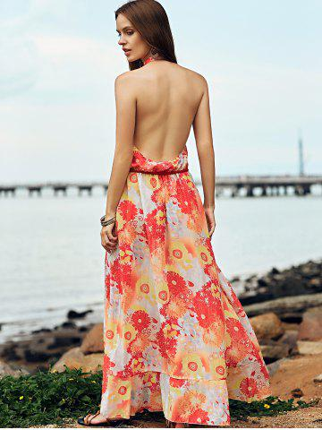 Unique Bohemian Halter Backless Flounce Swing Casual Dress - S ORANGE RED Mobile