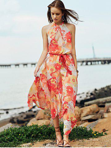 New Bohemian Halter Backless Flounce Swing Casual Dress - S ORANGE RED Mobile