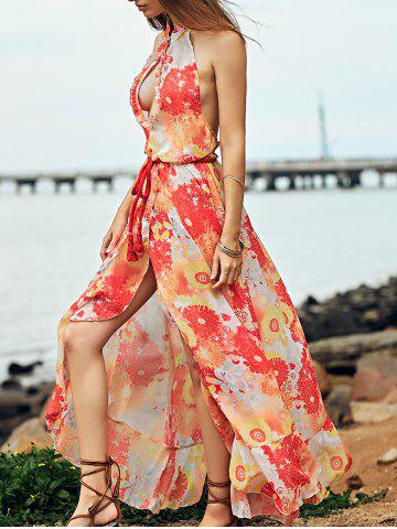 Sale Bohemian Halter Backless Flounce Swing Casual Dress - S ORANGE RED Mobile