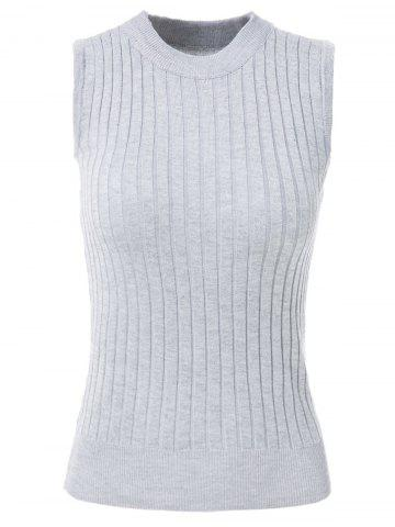 Round Neck Sleeveless Solid Color Knitted Tank Top