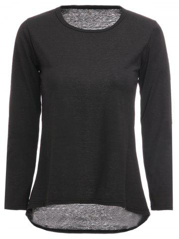 Trendy Round Neck Plain Long Sleeve T-Shirt BLACK ONE SIZE