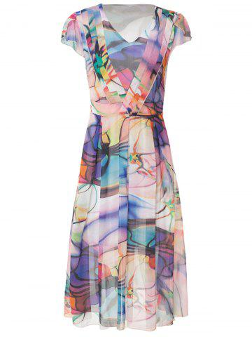 Store Short Sleeve V-Neck Chiffon Printed Dress AS THE PICTURE L