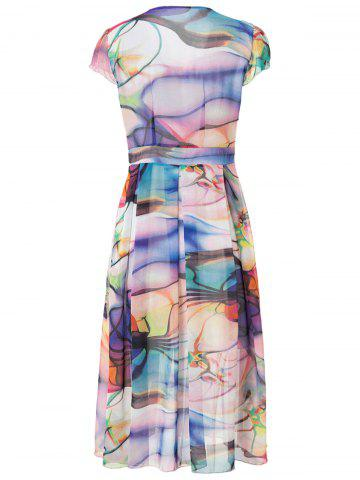 Shops Short Sleeve V-Neck Chiffon Printed Dress - L AS THE PICTURE Mobile