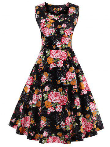 Unique Sweetheart Neck Floral 50s Swing Dress