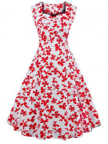 Sale Sweetheart Neck Allover 50s Swing Dress RED/WHITE 4XL