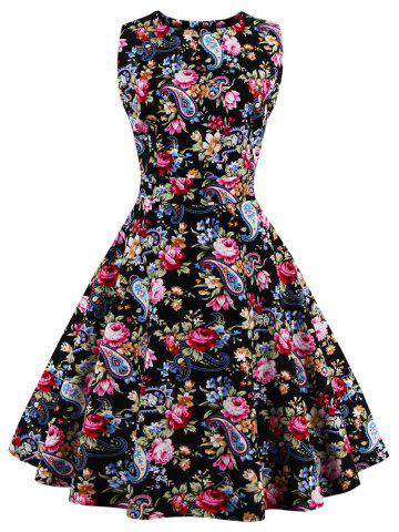 Discount Tie Back Floral 50s Swing Dress