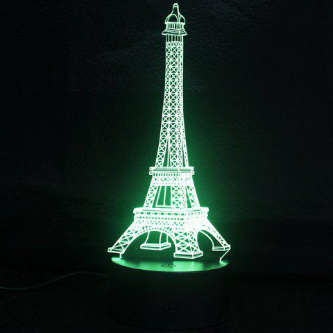 Online Creative Gradient Color 3D Eiffel Tower Shape Touch Switch LED Night Light - SILVER  Mobile