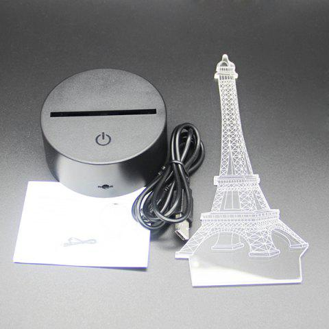 Fashion Creative Gradient Color 3D Eiffel Tower Shape Touch Switch LED Night Light - SILVER  Mobile