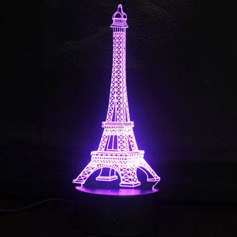 Cheap Creative Gradient Color 3D Eiffel Tower Shape Touch Switch LED Night Light - SILVER  Mobile