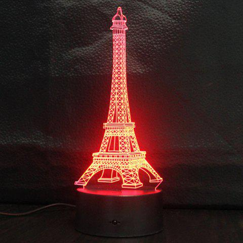 Affordable Creative Gradient Color 3D Eiffel Tower Shape Touch Switch LED Night Light - SILVER  Mobile