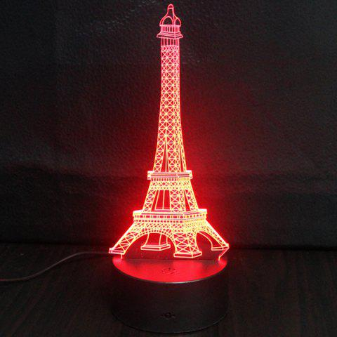 Fancy Creative Gradient Color 3D Eiffel Tower Shape Touch Switch LED Night Light - SILVER  Mobile