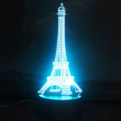 Outfit Creative Gradient Color 3D Eiffel Tower Shape Touch Switch LED Night Light - SILVER  Mobile