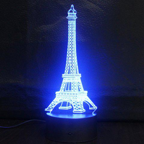 Discount Creative Gradient Color 3D Eiffel Tower Shape Touch Switch LED Night Light - SILVER  Mobile