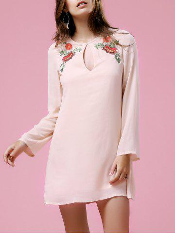 Shop Long Sleeve Floral Embroidery Casual Dress LIGHT PINK XL