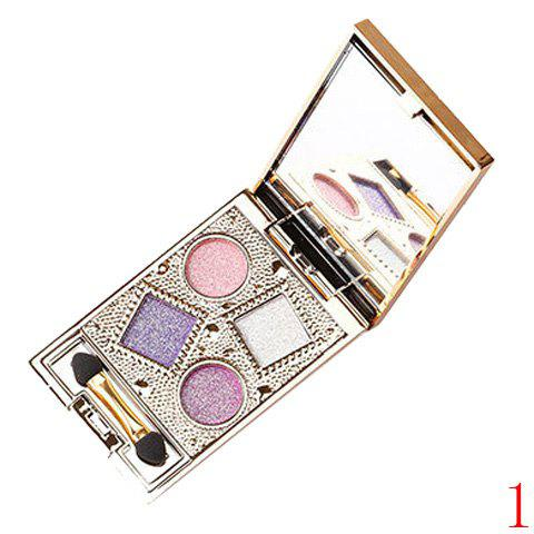 4 Colours Nude Makeup Sparkly Diamond Eye Shadow Palette with Mirror and Brush