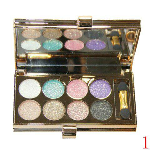 Chic Stylish 8 Colours Sparkly Diamond Earth Tone Eye Shadow Palette with Mirror and Brush