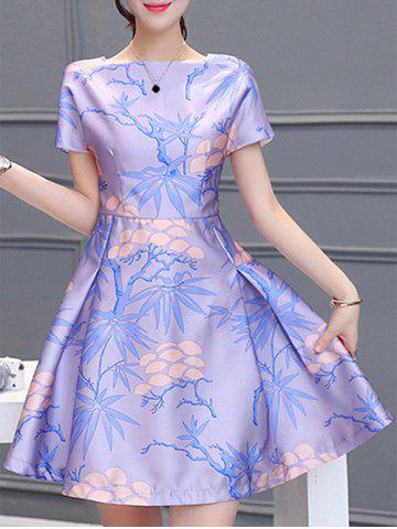 Online Elegant Square Collar Short Sleeves Pleated Plant Print Women's Dress