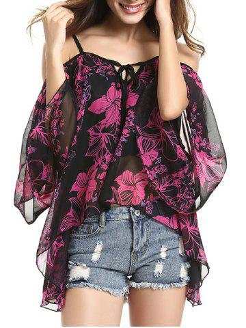 Fashion Spaghetti Strap Off Shoulder Bell Sleeve Floral Printed Blouse BLACK L
