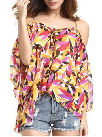 Online Chic Spaghetti Strap Off Shoulder Bell Sleeve Feather Print Women's Blouse