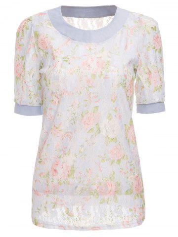 Shops Sweet Scoop Neck Floral Pattern 1/2 Sleeve Lace Women's T-Shirt
