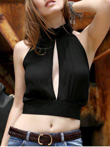Fancy Alluring Stand Collar Sleeveless Hollow Out Ruched Crop Top For Women BLACK 2XL