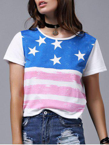 Sale Chic Round Neck Short Sleeve Flag Print T-Shirt For Women